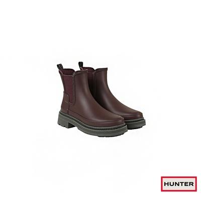 HUNTER -   女鞋 - Refined粗針縫切爾西霧面踝靴-咖啡