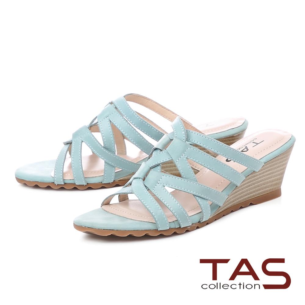 TAS 8字型牛皮繫帶楔型涼拖鞋-湖水藍