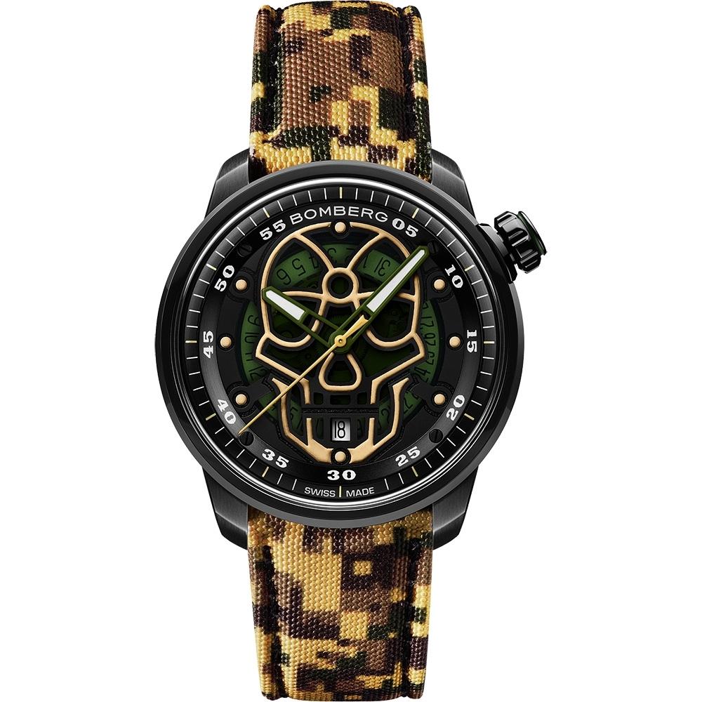 BOMBERG 炸彈錶BB-01 系列軍綠迷彩骷髏頭限量機械錶-43mm