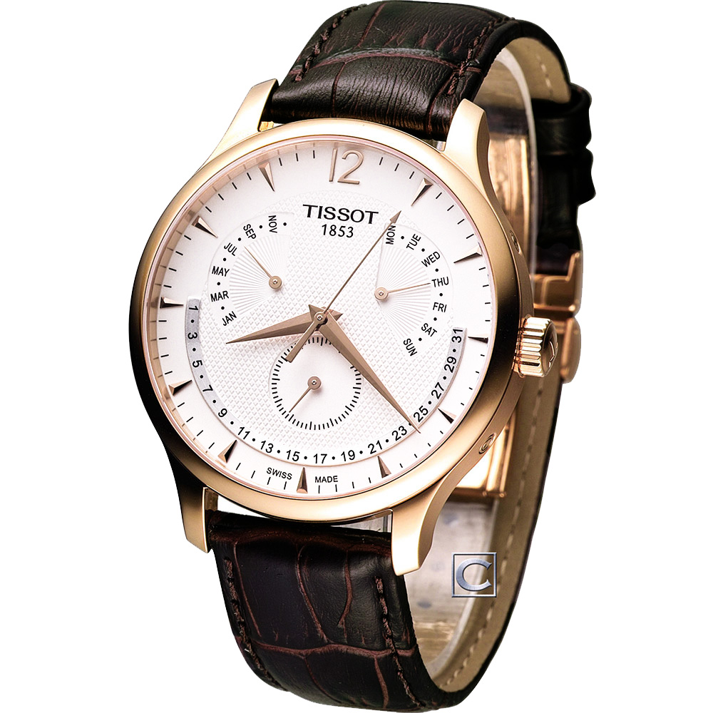 Tissot Tradition 萬年曆時尚腕錶-白/42mm