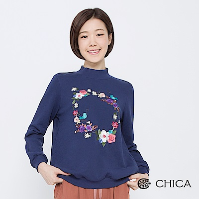 CHICA-浪漫凡爾賽花環刺繡小高領衛衣-3色