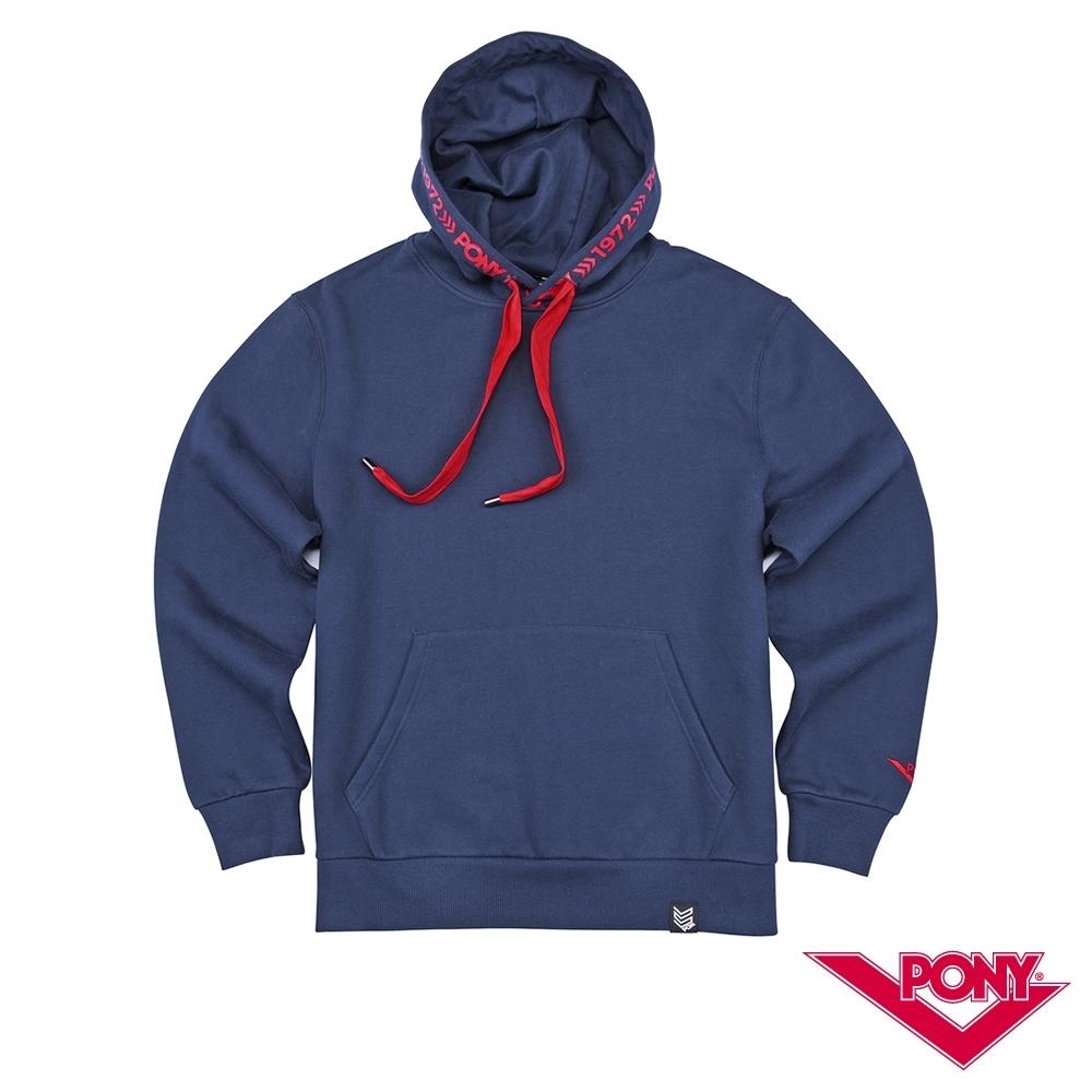 【PONY】長袖素色大學帽T  情侶款  T恤 中性款藏青色