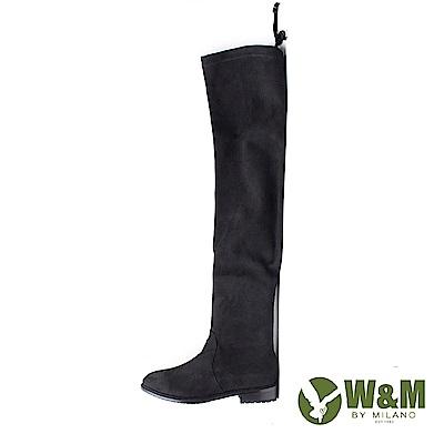 W&M 極簡素色彈力布 膝上靴 女靴-黑