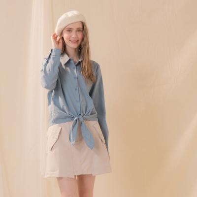 【CUMAR】襯衫領綁帶上衣-襯衫(二色/版型適中)