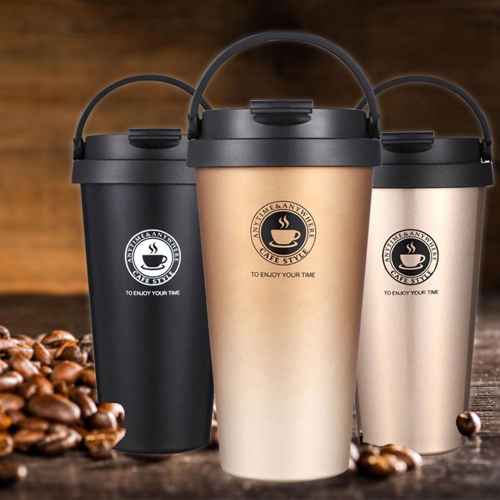 [買一送一平均200/入] Ezlife304不鏽鋼手提保溫咖啡杯500ML(5色任選)