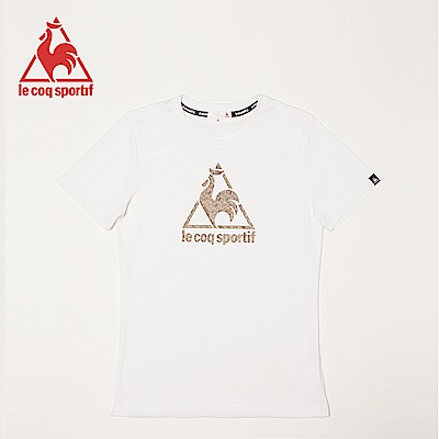 le coq sportif 法國公雞牌經典印花吸排運動圓領短袖T恤 女-白