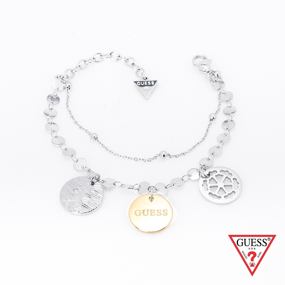 GUESS-配件-氣質金屬圓牌手鍊-銀x金