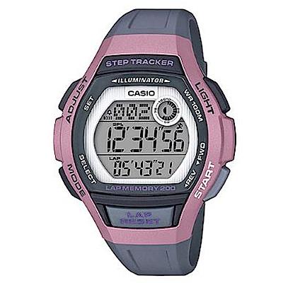 CASIO 慢活首選輕量型混色運動休閒錶(LWS-2000H-4A)粉框x灰/43.6mm