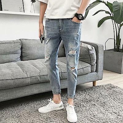 BuyGlasses 韓系窄身刷破牛仔長褲
