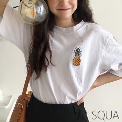 SQUA 鳳梨刺繡素色T恤上衣-三色-F