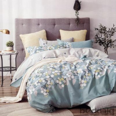BEDDING-100%棉單人全鋪棉床包兩用被套三件組-歲月如歌-藍