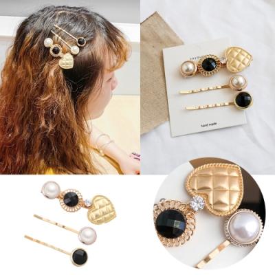 kiret韓國 時尚甜美質感 金色珍珠髮夾/一字夾3件組 (贈珍珠BB夾)