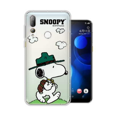 史努比/SNOOPY 正版授權 HTC Desire 19+ 漸層彩繪空壓手機殼(郊遊)