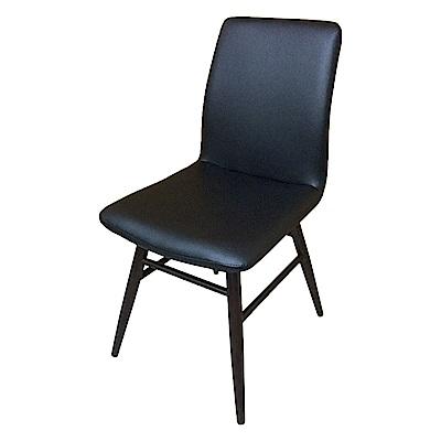 AS-Gina黑皮實木餐椅-45x52x89cm