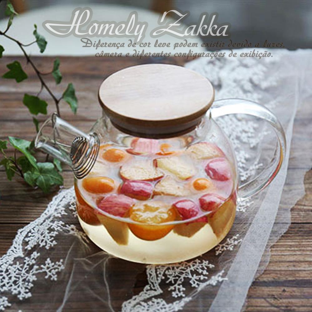 Homely Zakka 午茶食光茶濾短嘴竹蓋玻璃壺/花果茶壼 1000ml