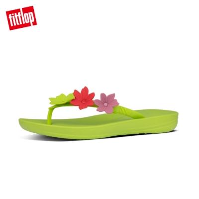 FitFlop IQUSHION FLOWER FLIP-FLOPS 花飾輕量人體工學戲水夾腳涼鞋-女(檸檬綠)