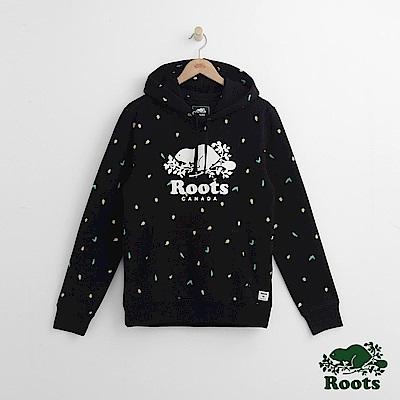Roots 男裝- 周年系列 松果滿版印花連帽上衣-黑