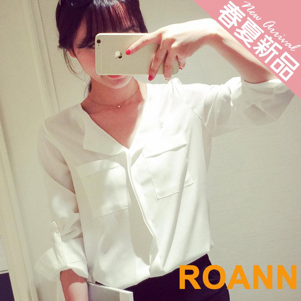 OL風翻領拼接小口袋雪紡襯衫 (白色)-ROANN