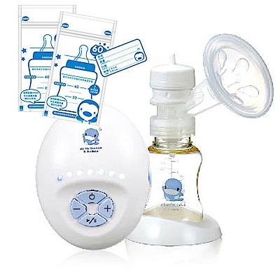 酷咕鴨KU.KU. 六段式實吸感輕巧吸乳器+藍色企鵝 母乳儲存袋60ml