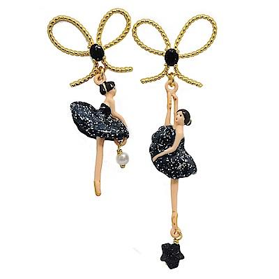 Les Nereides 優雅芭蕾舞女孩系列 水鑽蝴蝶結白色珍珠午夜藍色女孩耳環 針式