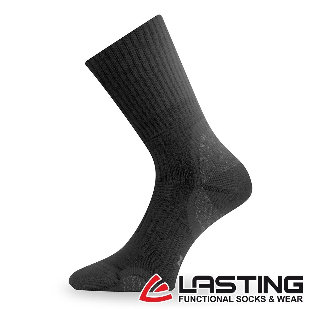 【LASTING捷克】男款美麗諾羊毛抗菌除臭吸濕排汗中筒健行襪/厚襪LT-TKA黑