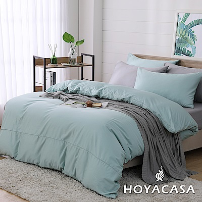 HOYACASA時尚覺旅 特大300織長纖細棉被套床包四件組-草芥綠灰