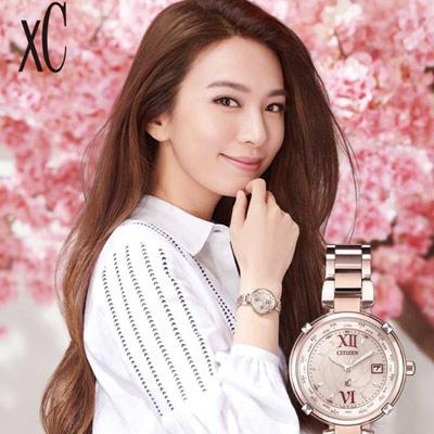 CITIZEN xC 愛戀玫瑰光動能電波鈦金屬腕錶(EC1048-54W)