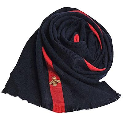 GUCCI STRONG BEE織帶蜜蜂刺繡LOGO喀什米羊毛混絲寬版圍巾/披肩(海軍藍)