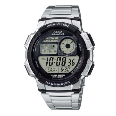CASIO卡西歐 地圖造型鐵帶電子錶(AE-1000WD-1A)