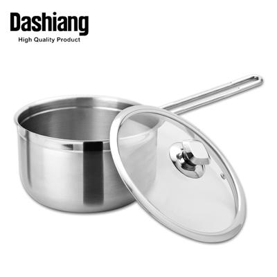 Dashiang #316不鏽鋼單把湯鍋19cm(附玻璃蓋)