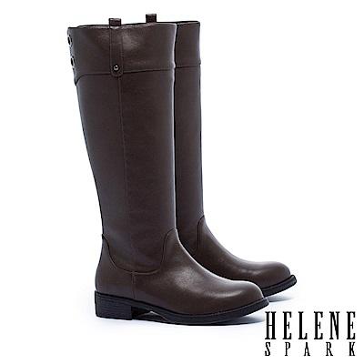 長靴 HELENE SPARK 簡約百搭金屬鉚釘點綴粗低跟長靴-咖