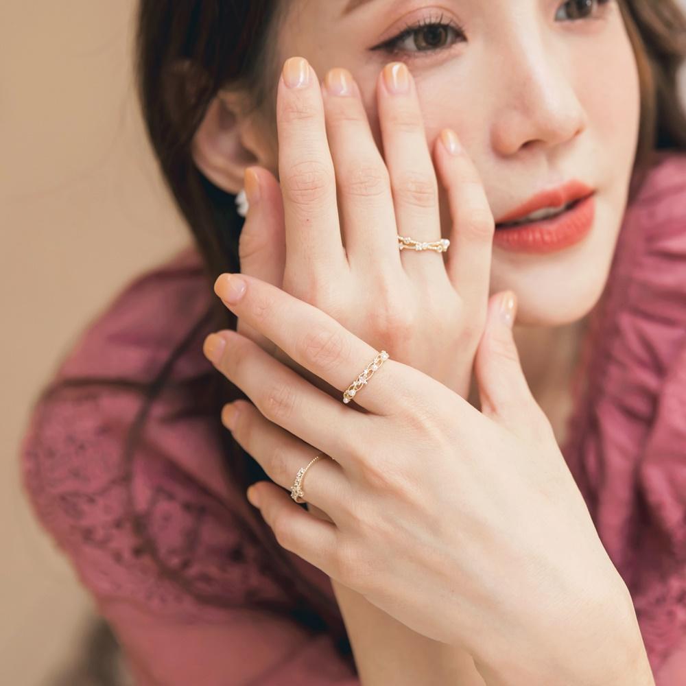 輕奢韓系星冠.嫁花.藤蔓可調節開口戒指三入組-OB大尺碼