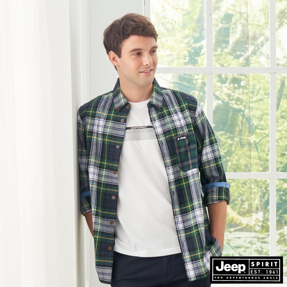 Jeep 男裝 時尚格紋休閒長袖襯衫-綠
