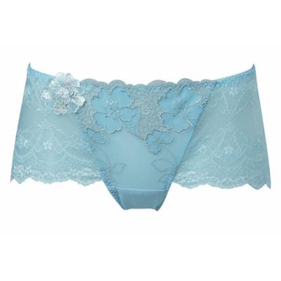 莎露- 普羅旺斯 M-LL 中低腰平口褲(藍)奢華刺繡蕾絲