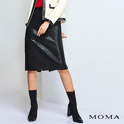 MOMA人造皮中長窄裙