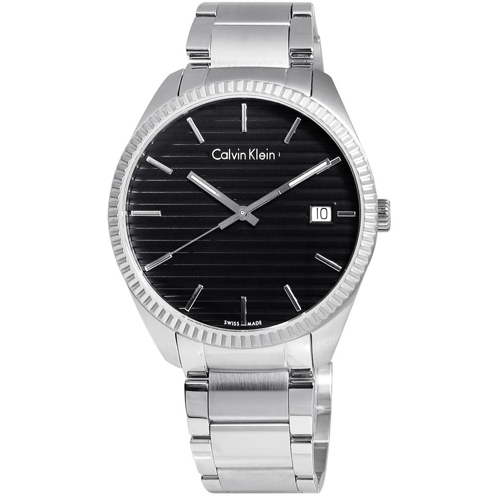 CK ALLIANCE 經久不敗橫紋面不鏽鋼腕錶-黑色/40mm