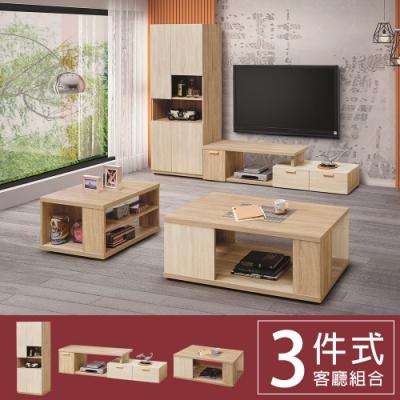 柏蒂家居-瑞莎客廳三件組(展示櫃+電視櫃+茶几)-195~267x40x197cm