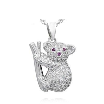 米蘭精品 925純銀項鍊鑲鑽吊墜-可愛無尾熊造型獨特情人節生日禮物女飾品73df30