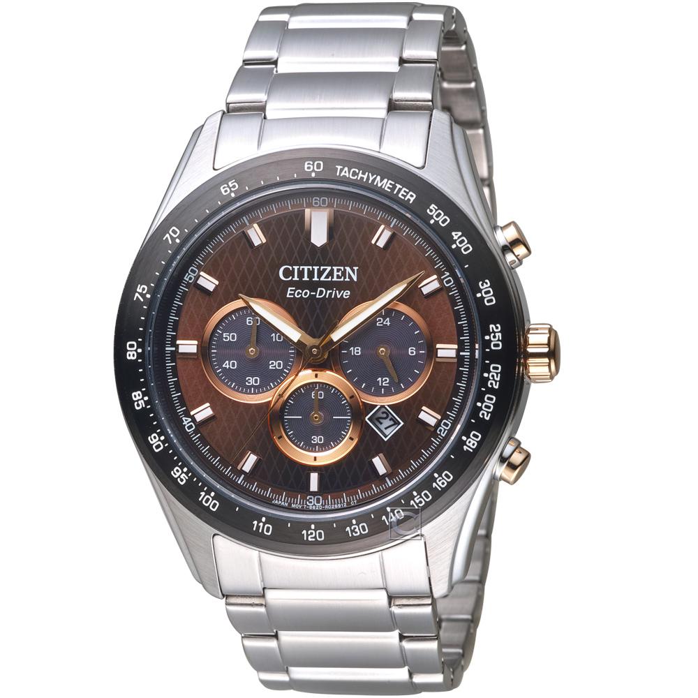 CITIZEN 星辰時刻捕手光動能計時錶(CA4456-83X)-咖啡