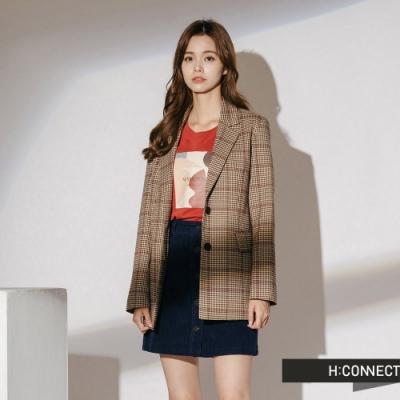 H:CONNECT 韓國品牌 女裝-復古格紋翻領西裝外套-棕