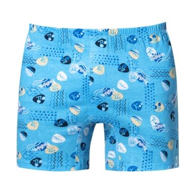 DADADO 全能鐵三角 M-3L印花四角男內褲(藍) 天然絲光棉 吸濕排汗