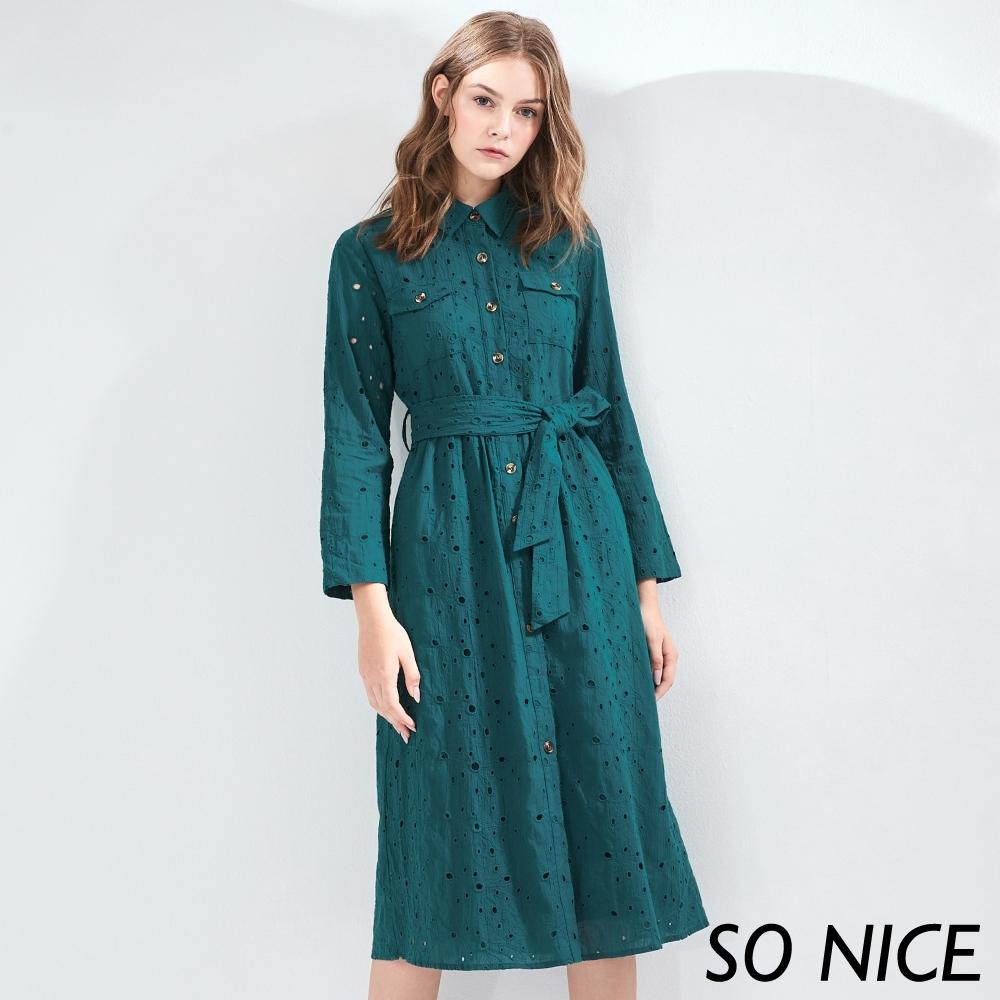 SO NICE優雅鏤空繡花襯衫洋裝