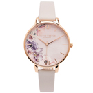 OLIVIA BURTON  花香錦簇款皮革錶帶手錶(OB16PP31)-粉色面/38mm