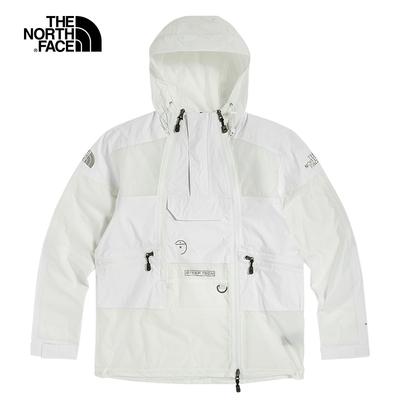 The North Face北面男女款白色防水透氣連帽外套|52ZWFN4