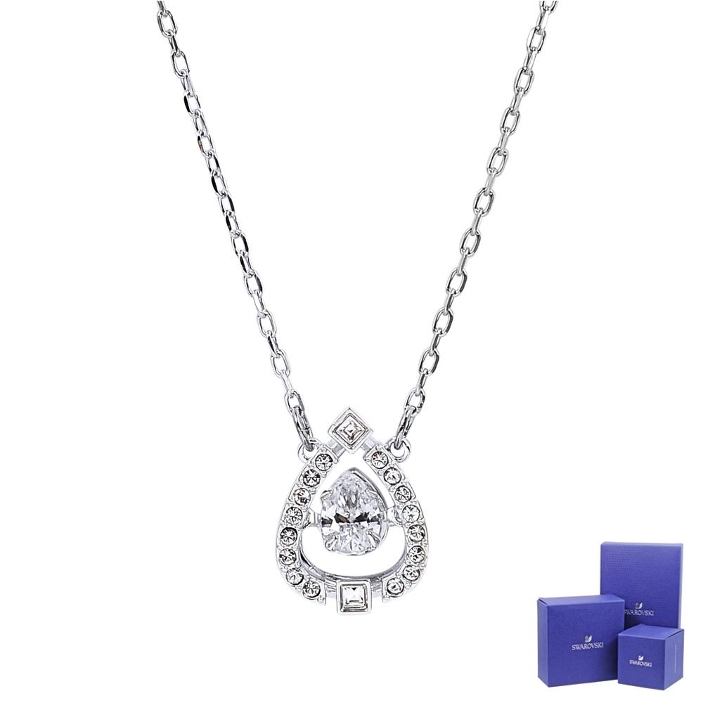 SWAROVSKI 施華洛世奇 浮動璀璨透明水晶水滴造型銀色項鍊