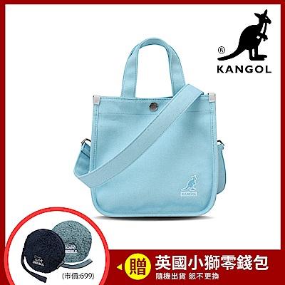 KANGOL 韓版極簡玩色-MINI帆布斜背小方包-淺藍AKG1215
