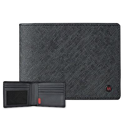 MONDAINE 瑞士國鐵國徽系列十字紋牛皮視窗8卡短夾–黑