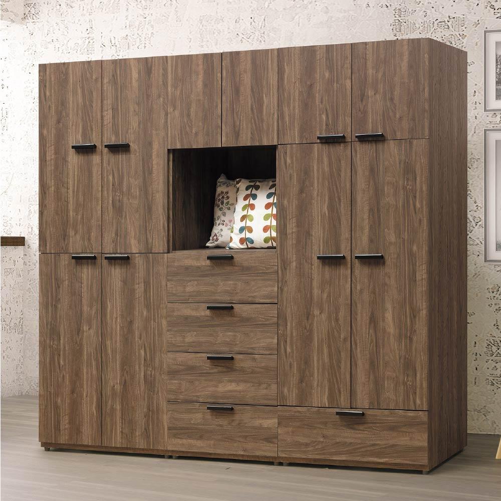 文創集 波爾比7尺木紋衣櫃/收納櫃(吊衣桿+五抽屜)-210x60x201.5cm-免組