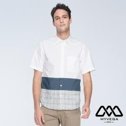 MYVEGA MAN落肩oversize素面條紋剪接短襯衫-藍