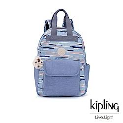 Kipling 柔和藍水彩條紋拼接手提雙肩後背包-小-TIMIL S
